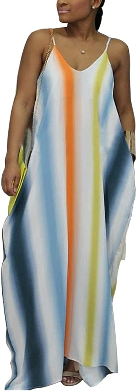 Aro Lora Women's colorful Stripes Spaghetti Strap V Neck Loose Long Maxi Dress with Pockets
