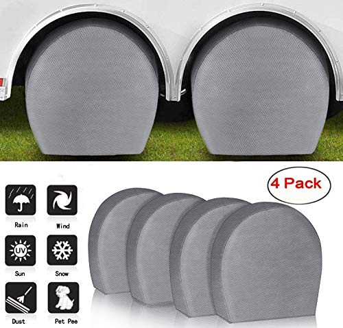 ACUMSTE Tire Covers 4 Pack RV, Tire Covers for RV Wheel Motorhome Wheel Covers Waterproof UV Coating Tire Protectors for Trailer Truck Camper Auto Fits 32' - 34' Tire Diameters
