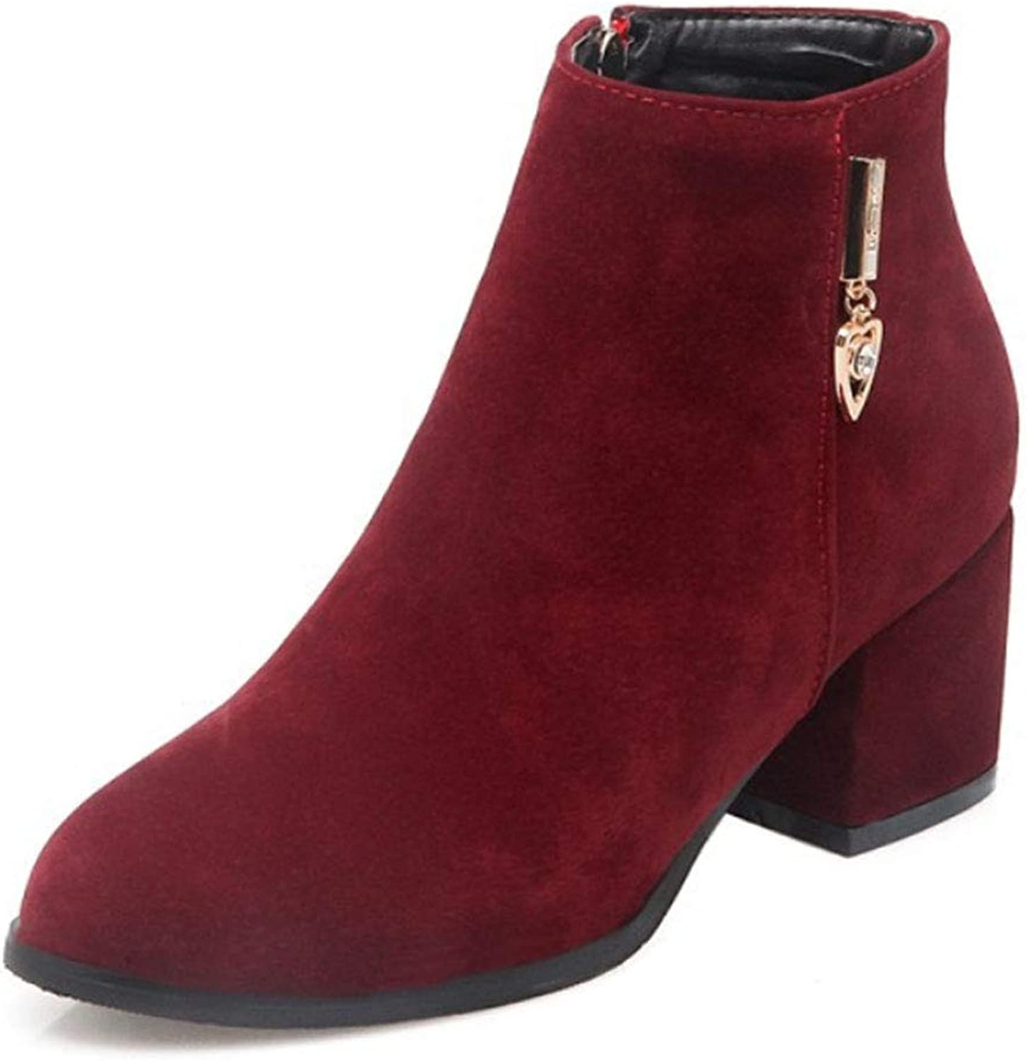 Women's Short Boots Suede Low Heel Thick with Round Head Single Boots Thickening Fleece Lined Side Zipper Metal Decorative Large Size Booties