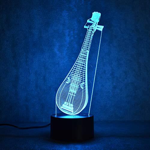 KangYD 3D Night Light Chinese Instrument Pipa, LED Optical Illusion Lamp, E - Alarm Clock Base(7 Color), Gift for Girl, Desk Lamp, Bar Decor, Decor Gift, Birthday Gift
