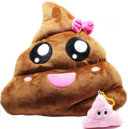 Cute Poop Emoji Throw Pillow - 14 inch Manual Cartoon Brown and Pink Soft Plush Stuffed Sofa Cushion - Home Decor Travel Buddy - Adorable Emoticon Creative Funny Doll Toy, Easter Party Favor, Set of 2