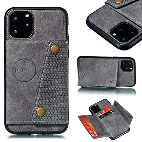 iPhone 11 Wallet Case with Card Holder, iPhone 11 Case Wallet Premium PU Leather Kickstand Card Slots, Double Magnetic Clasp and Durable Shockproof Cover gray