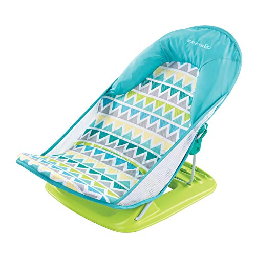 Summer Deluxe Baby Bather (Triangle Stripes) – Bath Support for Use in the Sink or Bathtub – Includes 3 Reclining Positions