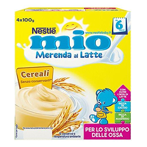 Nestlé Mio Merenda al Latte Cereali da 6 Mesi senza Glutine 4 Vasetti Plastica 100 g