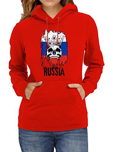 Shirt Happenz Russland WM 2018#21 Premium Hoodie Fan Trikot Fußball Weltmeisterschaft Nationalmannschaft Frauen Kapuzenpullover, Farbe:Rot;Größe:L