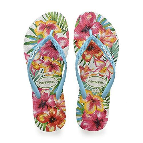 Havaianas schlanke Hibisco Flip Flops für Frauen, mehrfarbig (weiß), 8/9 UK (43/44 EU)