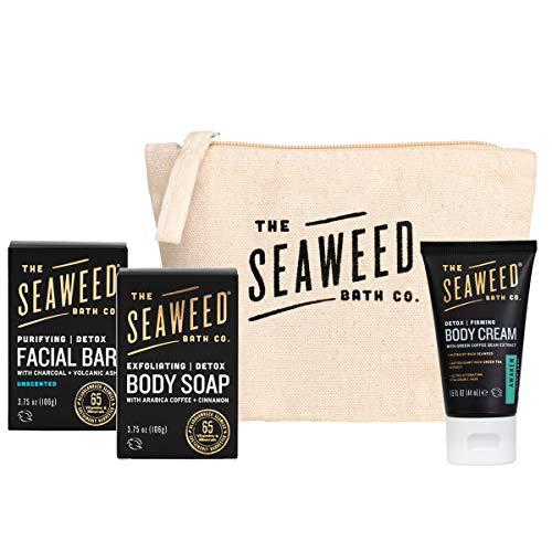 The Seaweed Bath Co. Detox Facial + Body Bar Soap Duo & Body Cream Gift Set (Full size + trial size), Unscented + Awaken (Rosemary & Mint), Vegan, Paraben Free