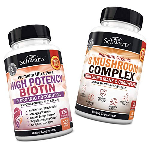 10000mcg Biotin with Organic Coconut Oil + Mushroom Complex with Lions Mane & Cordyceps - Promotes Energy & Overall Vitality - Supports Hydration & Whole Body Health