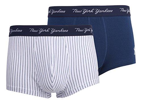 New York Yankees Herren Boxershorts, 2er-Pack, Gr. M, Marineblau / Weiß