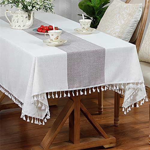 コットンリネンタッセル正方形のテーブルクロスキッチンダイニングリビングルーム屋外パーティー装飾テーブルカバー 140x140cm