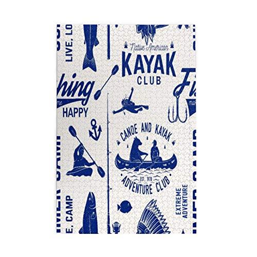 Kayak de la canoa y club de pesca inconsútil patrón/rompecabezas de los niños para el juego del entretenimiento del cumpleaños