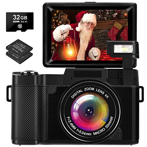 Appareille Photo Numérique 2.7K 30MP Full HD Vlogging Camera avec Écran Rabattable Appareil Photo Rechargeable avec Carte SD de 32 Go et 2 Piles