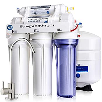 iSpring RCC7 NSF Certified High Capacity Under Sink 5-Stage Reverse Osmosis Drinking Filtration System and Ultimate Water Softener 75 GPD Brushed Nickel Faucet