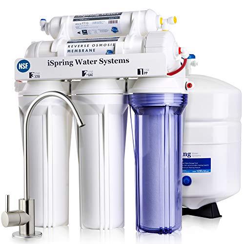 Sistema de filtrado de agua iSpring 75GPD de ósmosis inversa de 5 etapas, éxito de ventas, modelo RCC7