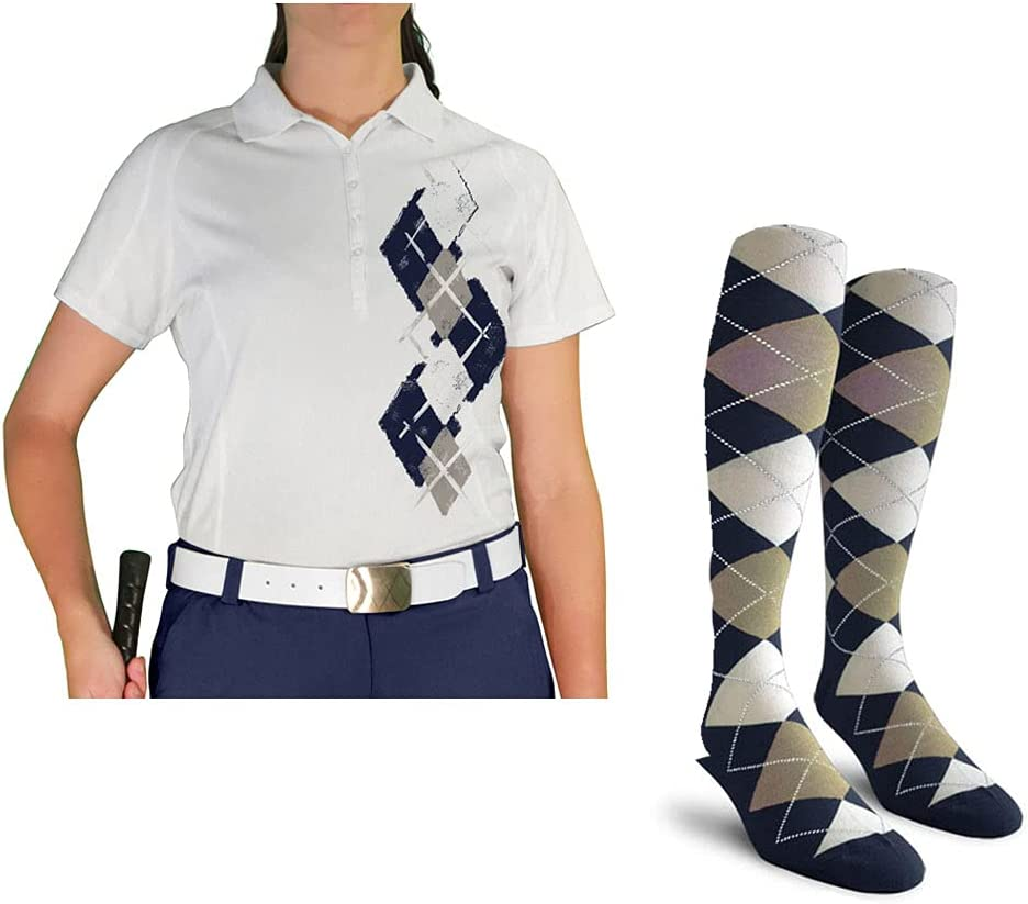 Ladies Argyle Paradise Tucson Mall Max 60% OFF Golf Shirt with Socks FFFF: - Navy Taupe