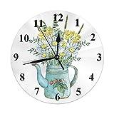 Reloj Floral Tetera de Fresa con Hojas Margarita Siempreviva Flores Reloj de Pared Redondo Slient No tictac Decoración rústica para el hogar 10 Pulgadas para Cocina Baño Oficina