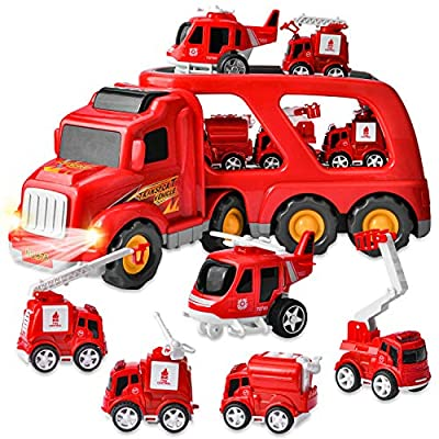 JOYIN 6PC Transport Carrier Truck with 5 Fire Rescue Diecast Vehicle Toys, Car Toy Set with Light and Sounds, Friction Powered Play Vehicles and Car Carrier Trailer by Joyin Inc