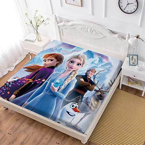 Fitted Sheet,Frozen 2 Anna Elsa Olaf Sven (9),Soft Wrinkle Resistant Microfiber Bedding Set,with All-Round Elastic Deep Pocket, Bed Cover for Kids & Adults,Queen (70x80 inch)