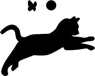 猫のシルエットステッカー 飛びかかるネコ(蝶・ボール付き) ねこ キャット ポーズ シール 光沢タイプ・防水・耐水・屋外耐候3~4年【クリックポストにて発送】 (黒, 75)