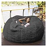 CUzzhtzy 7-foot Bean Bag Chair with Furry Fur Coat, Machine Washable Large Sofa and Giant Recliner Furniture, Dormitory or Home Furnishing (Color : Dark grey)