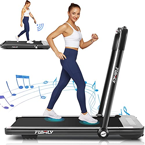 Treadmills for Home,Under Desk Folding Treadmill,2-in-1 Running,Walking & Jogging Portable Running Machine with Bluetooth Speaker & Remote Control,5 Modes & 12 Programs,No Assembly Required (Black)