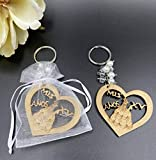 12Pcs Sweet 15 Wood Design Keychain Quinceañera Recuerdos Favors for Girl With Organza Bags
