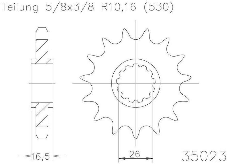 Ritzel 15Â Zähne Stahl 530er Teilung 5 8Â X 3 8 Auto