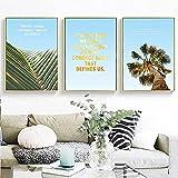 Cartel de arte de pared de paisaje con hojas de palmera de cielo azul citas motivacionales nórdicas lienzo impreso pintura decorativa imagen sin marco-50x70cmx3