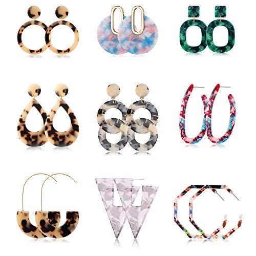 Jstyle 9Pairs Acrylic Hoop Earrings for Women Girls Mottled Drop Stud Earrings Statement Resin Earrings Set Fashion Women Jewelry