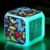 TCJJ Alarm Clock for Kids, Boy Gifts, Digital Alarm Clocks, LED Night Glowing Cube LCD Clock with Light Children Wake Up Bedside Clock Birthday for Kids Boys Adult Bedroom, Dinosaur (Cool Dinosaur)