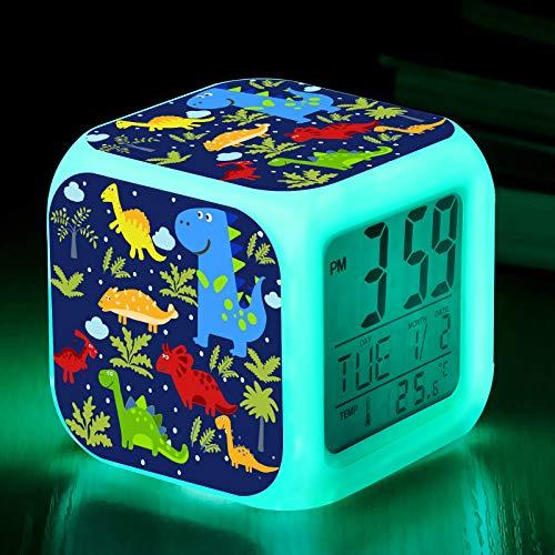 TCJJ Alarm Clock for Kids, Boy Gifts, Digital Alarm Clocks, LED Night Glowing Cube LCD Clock with Light Children Wake Up Bedside Clock Birthday for Kids Boys Adult Bedroom, Dinosaur