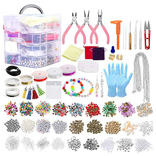 2015 piezas de suministros de fabricación de joyas con cuentas variadas, encantos, alicates de cable de alambre para collar, pulsera, pendientes, accesorios de bricolaje, cuentas y dijes