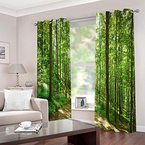 empty Cortinas Cortinas Bosque Verde y Soleado Dormitorio Moderno Ventana 3D Impresión Ojales Habitación Antimosquitos Insonorizantes Protección UV 2x140x175cm(AnxAl)