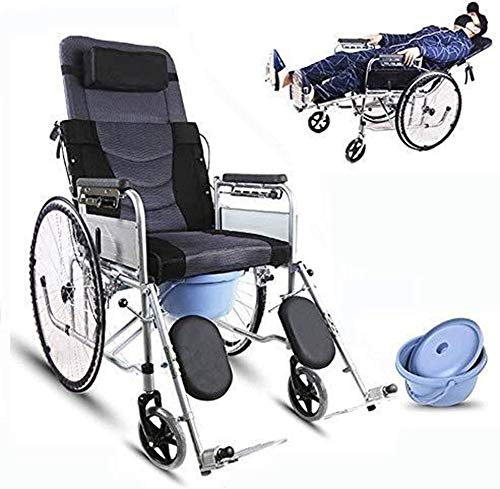 NANI Discapacitados con Silla de Ruedas Vespa Vieja, de Aluminio, de Peso Ligero y Marco Plegable, Ayuda a la Movilidad, Operadora móviles, Presidente de Viaje Confort con Urinario (Color : Gray)