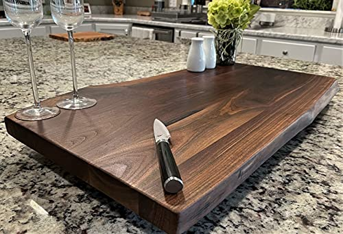 """Black Walnut Large, Gorgeous, Full-of-Character, Forest-to-Table Solid Double Live Edge Wood Charcuterie / Appetizer / Dessert / Grazing / Serving Board. 100% USA Handcrafted. 27 x 15 x 1.25"""""""