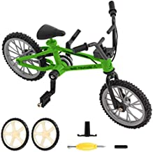 BMX Finger Bike Series 12, Cool Boy Toy Creative Game Toy Set , Replica Bike with Real Metal Frame, Graphics, and Moveable Parts for Flick Tricks, Flares, Grinds, and Finger Bike Games (Green)
