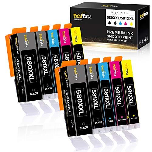 TohiTata PGI-580XXL CLI-581XXL Cartuchos de Tinta para Canon 580 581 Compatible con Canon Pixma TS6251 TR8550 TS6351 TS705 TS9551 TS6150 TS8151 TS6350 TS6250 TS9150 TR7550 TS9550 TS8251 TS6151