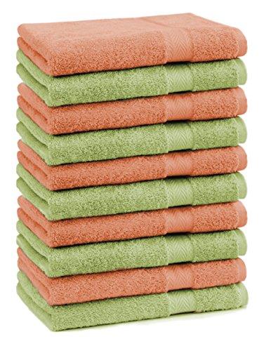 Betz Lot de 10 Serviettes débarbouillettes lavettes Taille 30x30 cm en 100% Coton Premium Couleur Orange et Vert Pomme