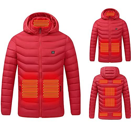 BGUK Chaqueta calefactable eléctrica para hombre y mujer, chaleco térmico con 3 temperaturas facultativas, chaqueta térmica para calentar el cuerpo en exteriores, caza, senderismo, rojo, XL