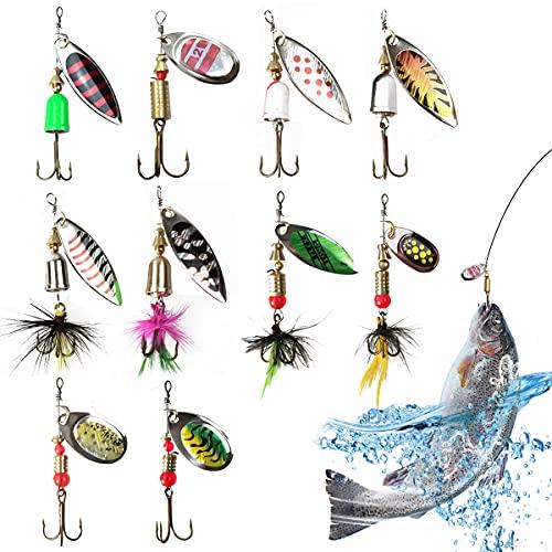16 Pcs SeñUelos De La Pesca, Pesca De Los SeñUelos del Hilandero del Bajo SeñUelos Bajos De La Trucha, Cucharilla De Pesca para Lucio Perca Trucha