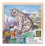 Wild Republic FSC-88025 - Puzzle de Madera, Madera FSC Mezclado, 20 Partes, Motivo de Leopardo de Las Nieves