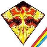Mint's Colorful Life Phoenix Cometa para niños y adultos, fácil de volar 29 x 29 pulgadas Diamond Kite con cola de 118 pulgadas