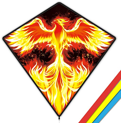 Mint's Colorful Life Cometa de diamante Phoenix para niños y adultos, fácil de volar 29 x 29 pulgadas