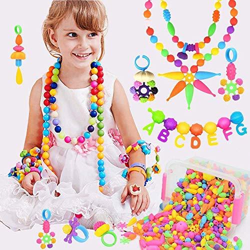 BLAZOR Kinder Pop Perlen Geschenkset,Drahtlose Perlen Schmuck Halskette,Armband,Ringe...DIY Spielzeug Schmuck Basteln,Pädagogisches Spielzeug Mädchen 3 4 5 6 7 8 9 10 11 12Jahre Geburtstag / Party