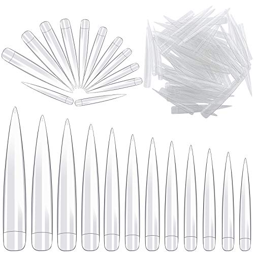 Elcoho 240 Pieces Stiletto Nail Tips Extra Long Clear Half Cover False Nail Art Tips Acrylic Fake Nail Tips Artificial Nails Tips 12 Sizes with Bag