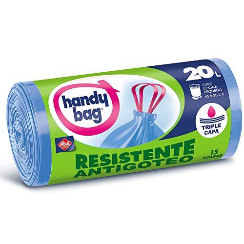 Handy Bag Bolsas de Basura 20L, Extra Resistentes, No Gotean, 15 Bolsas (1077)