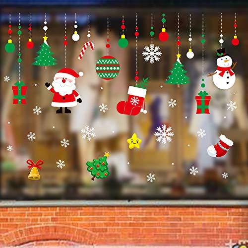 HNLY Weihnachtsschmuck Weihnachtssticker Stoffglassticker PVC-Elektrostatiksticker Wandsticker (Set)