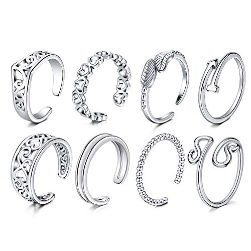 Briana Williams 8pcs Open Toe Rings Set Adjustable Surgical Steel Fingers Joint Tail Ring Foot Knuckle Jewellery Vintage Retro Women