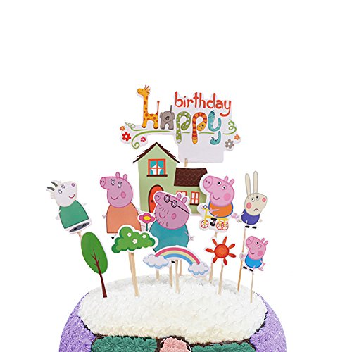 Party Hive 12pc Peppa Cartoon Pig Cake Toppers for Kids Birthday Party Event Decor