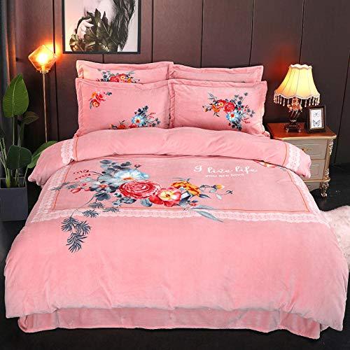 juego de ropa de cama 135x208-Terciopelo de leche, calidez de cuatro piezas, franela de doble cara, ropa de cama gruesa, funda nórdica, cama individual, funda de almohada individual, regalo-UN_Cama d